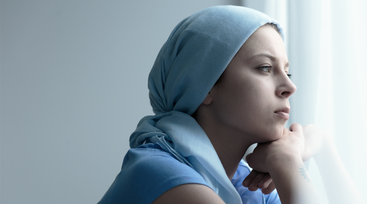 cancer patient with head scarf on